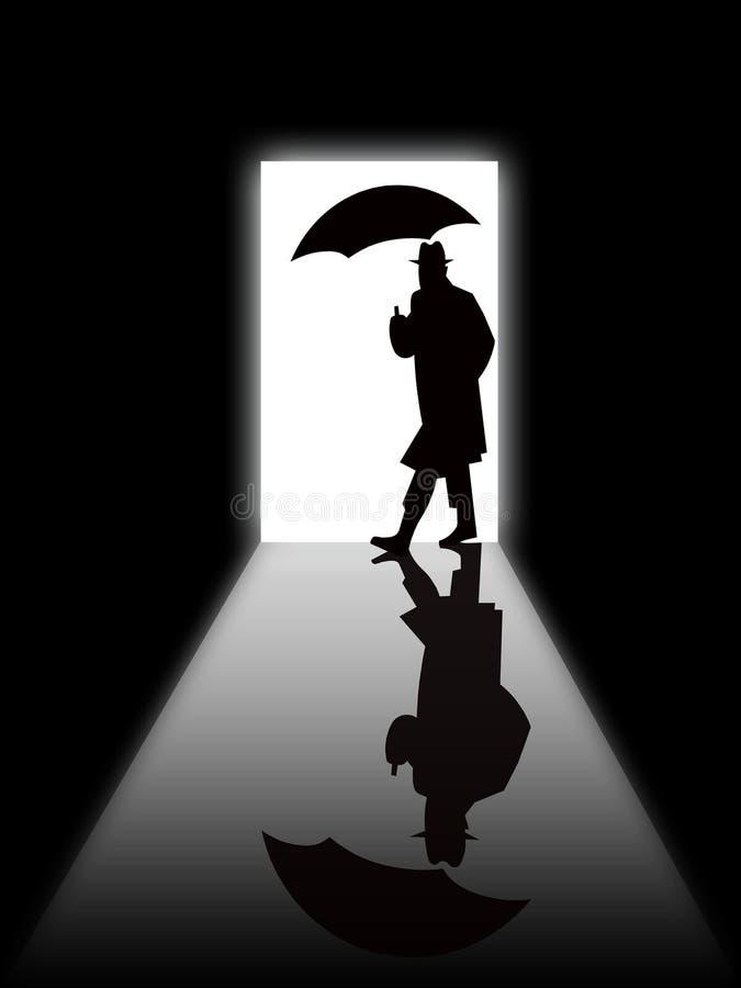 Silueta del hombre en la puerta ilustración del vector