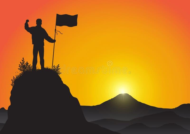 Silueta del hombre encima de la bandera de la tenencia de la montaña en fondo de oro de la salida del sol, éxito, el logro y el c ilustración del vector