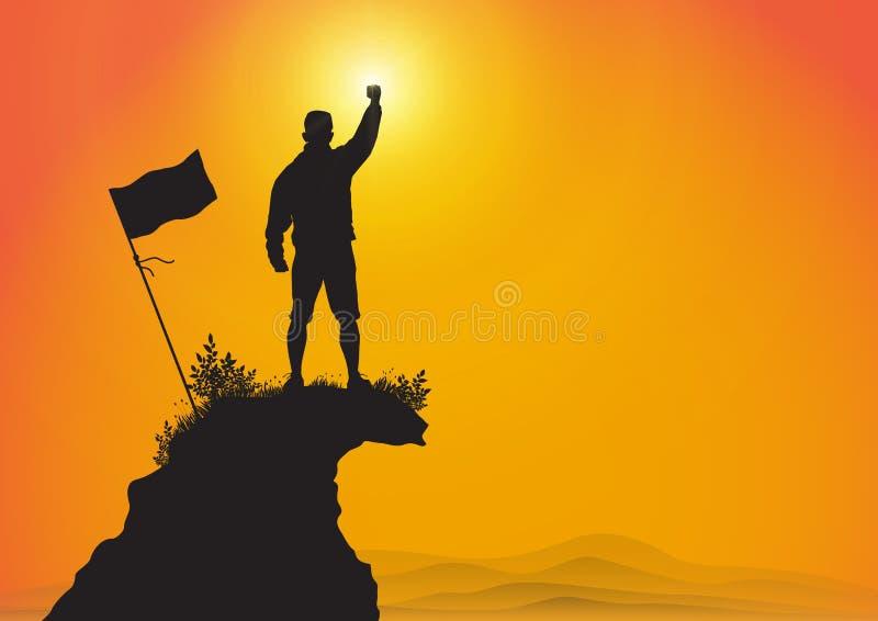 Silueta del hombre encima de la montaña con el puño aumentado para arriba con la bandera en fondo de la salida del sol, el logro  libre illustration
