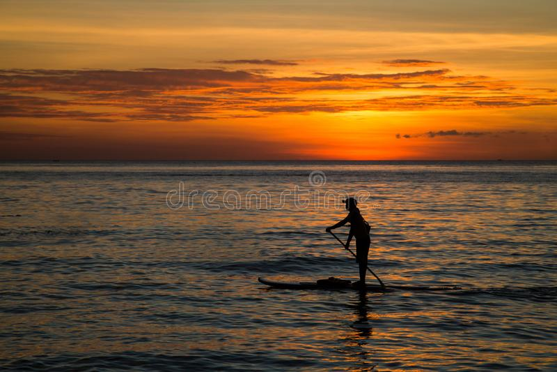 Silueta del hombre joven que se bate en un tablero del SORBO en el mar en la puesta del sol, vista posterior imagen de archivo