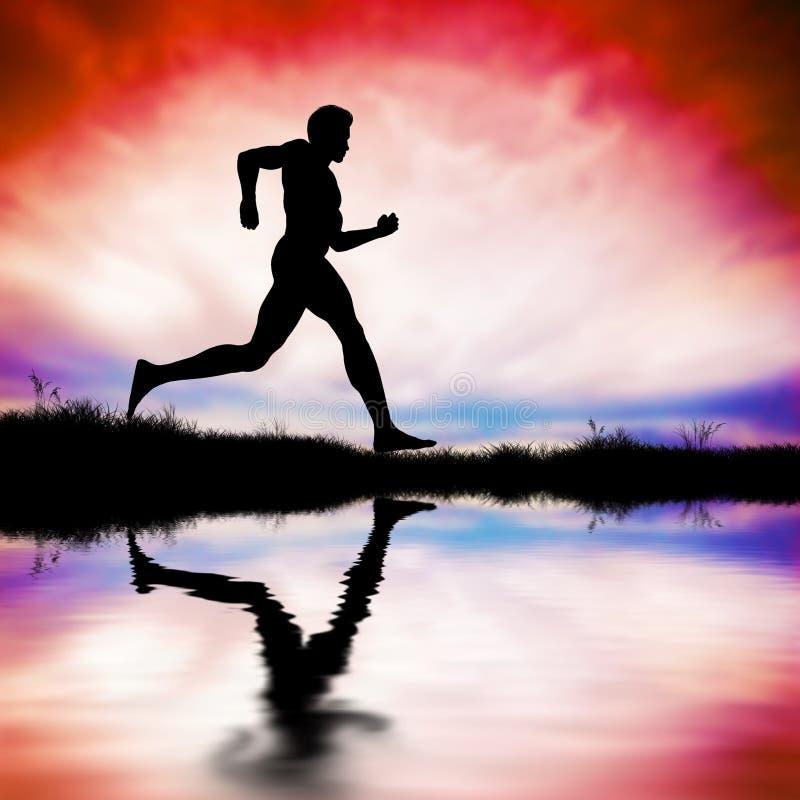Silueta del hombre que corre en la puesta del sol ilustración del vector