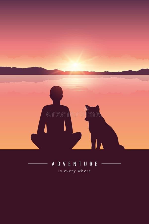 Silueta del hombre y del perro por el lago con paisaje de la montaña en el diseño de la aventura de la puesta del sol stock de ilustración