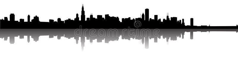 Silueta del horizonte de Chicago ilustración del vector