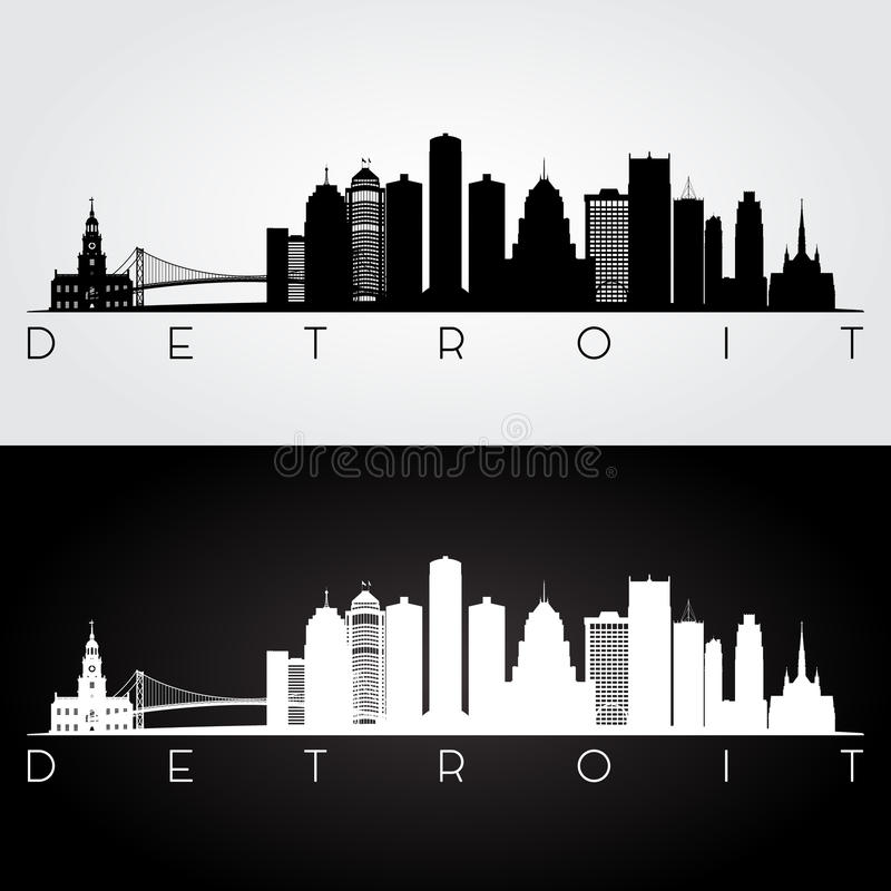 Silueta del horizonte de Detroit fotos de archivo