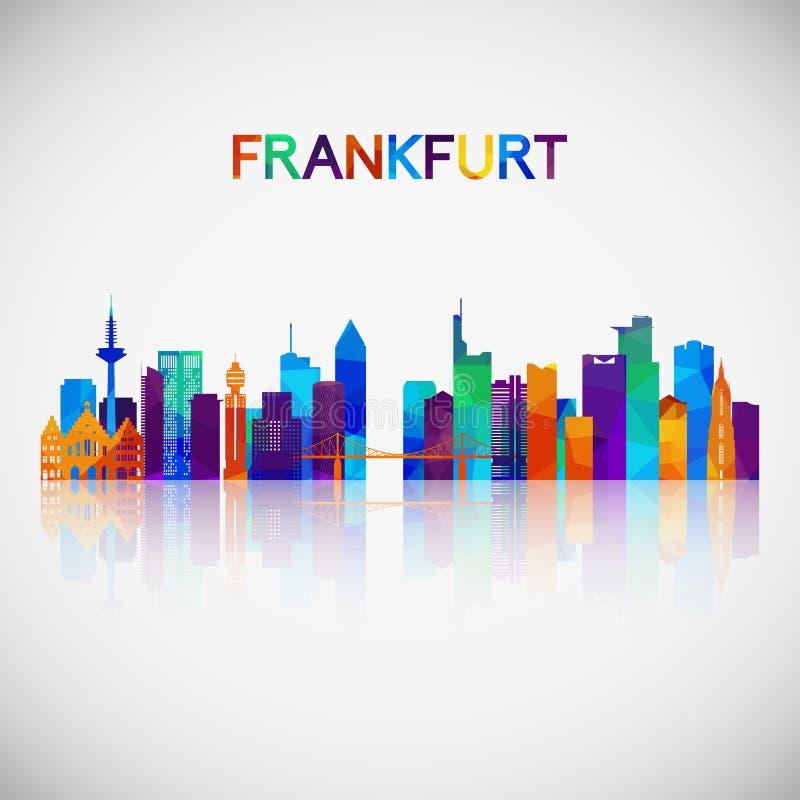 Silueta del horizonte de Francfort en estilo geométrico colorido ilustración del vector