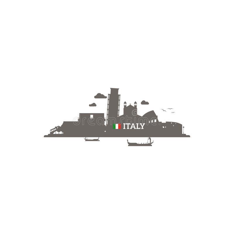 Silueta del horizonte de Italia stock de ilustración