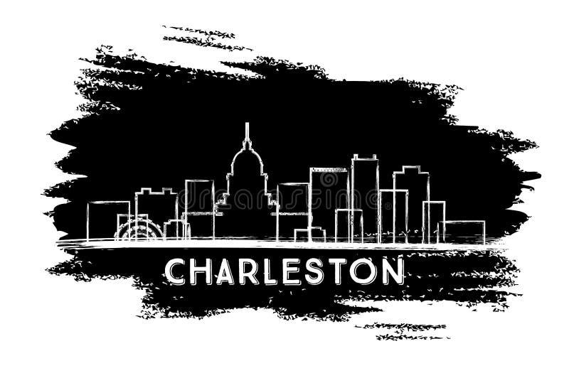 Silueta del horizonte de la ciudad de Charleston West Virginia Bosquejo drenado mano ilustración del vector