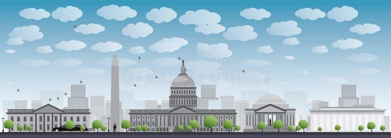 Silueta del horizonte de la ciudad del Washington DC ilustración del vector