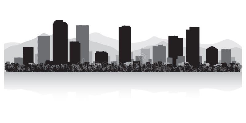 Silueta del horizonte de la ciudad de Denver Colorado ilustración del vector