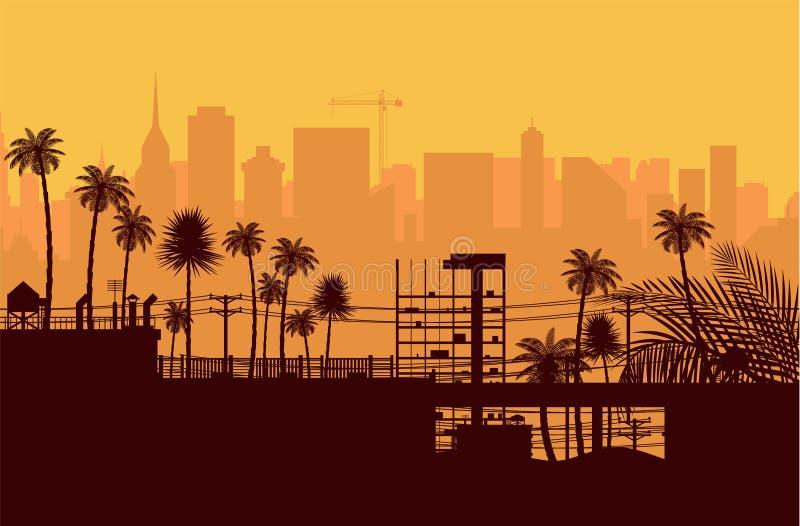 Silueta del horizonte de la ciudad en la puesta del sol libre illustration