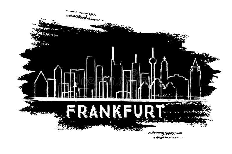 Silueta del horizonte de la ciudad de Francfort Alemania Bosquejo drenado mano ilustración del vector