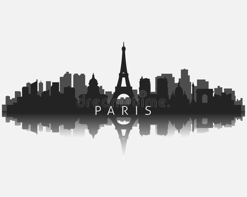 Silueta del horizonte de la ciudad de París con el ejemplo del vector de la reflexión ilustración del vector