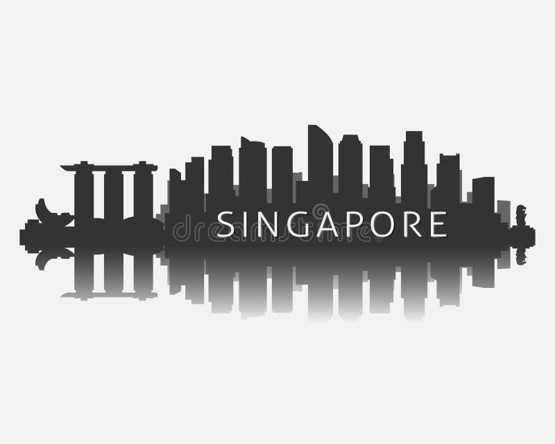 Silueta del horizonte de la ciudad de Singapur con el ejemplo del vector de la reflexión ilustración del vector