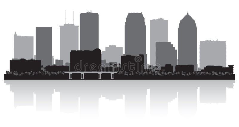 Silueta del horizonte de la ciudad de Tampa la Florida stock de ilustración