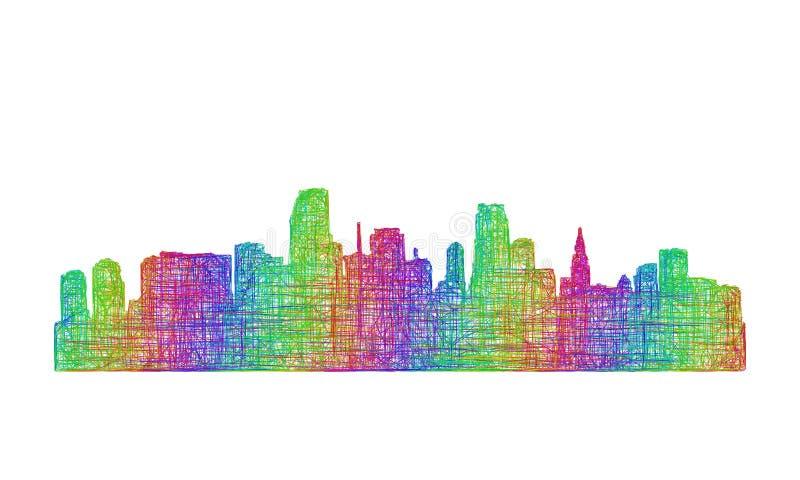 Silueta del horizonte de Miami - línea arte multicolora stock de ilustración