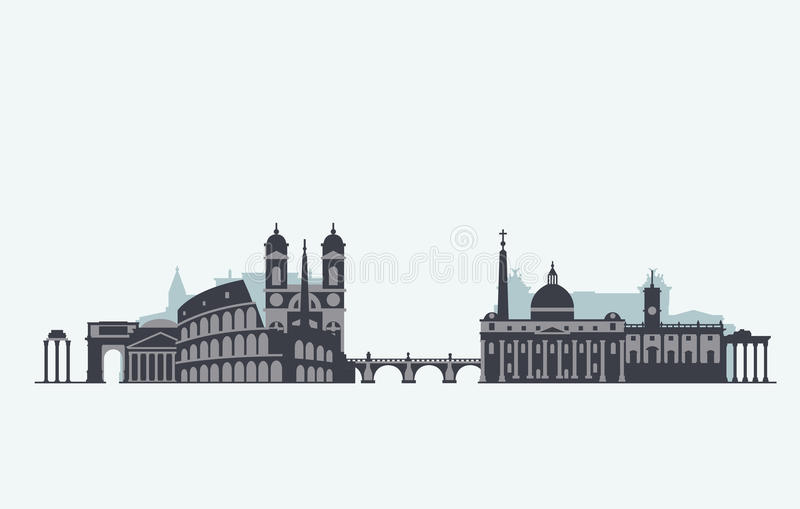 Silueta del horizonte de Roma libre illustration