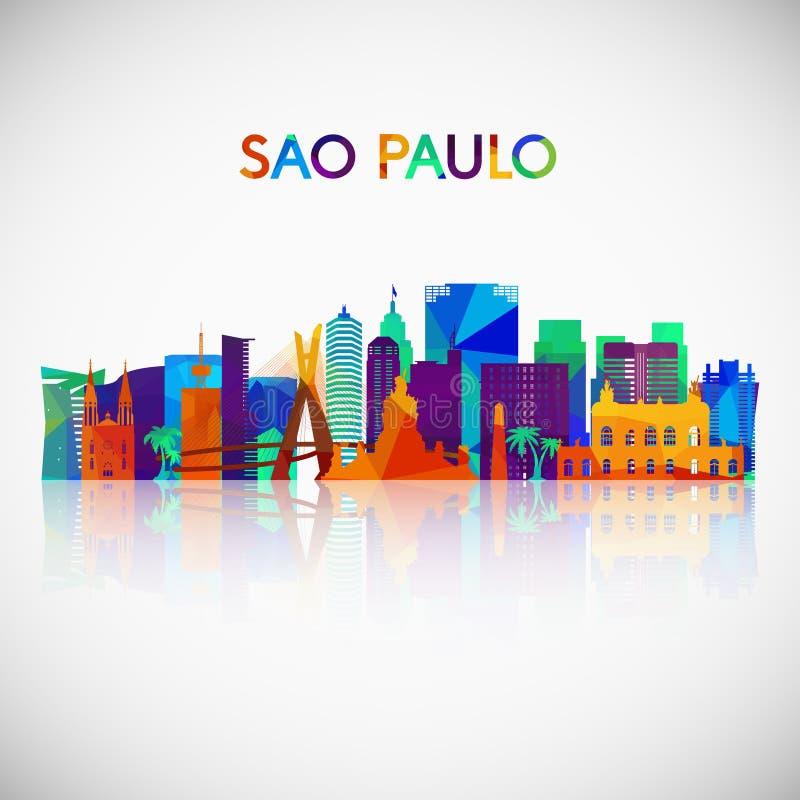 Silueta del horizonte de Sao Paulo en estilo geométrico colorido ilustración del vector