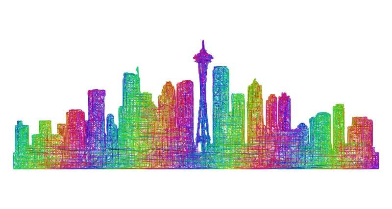 Silueta del horizonte de Seattle - línea arte multicolora stock de ilustración