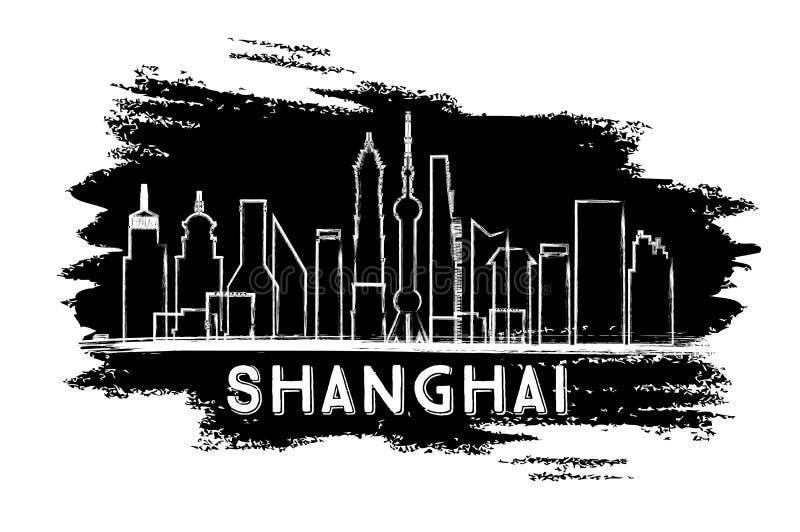 Silueta del horizonte de Shangai Bosquejo drenado mano stock de ilustración