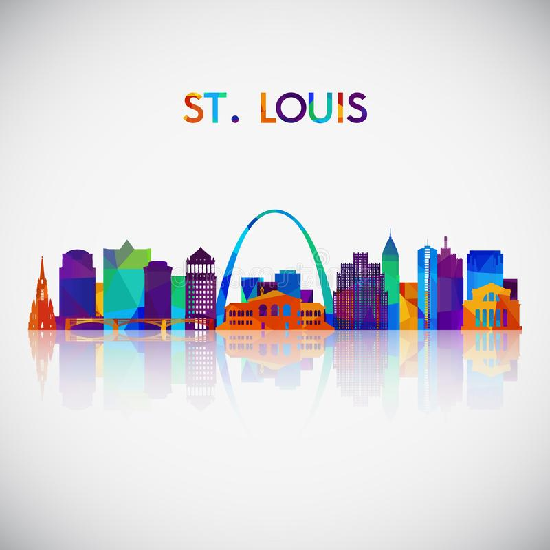 Silueta del horizonte de StLouis en estilo geométrico colorido ilustración del vector
