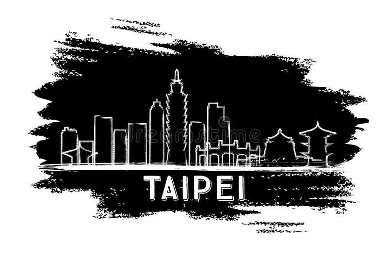 Silueta del horizonte de Taipei Bosquejo drenado mano libre illustration