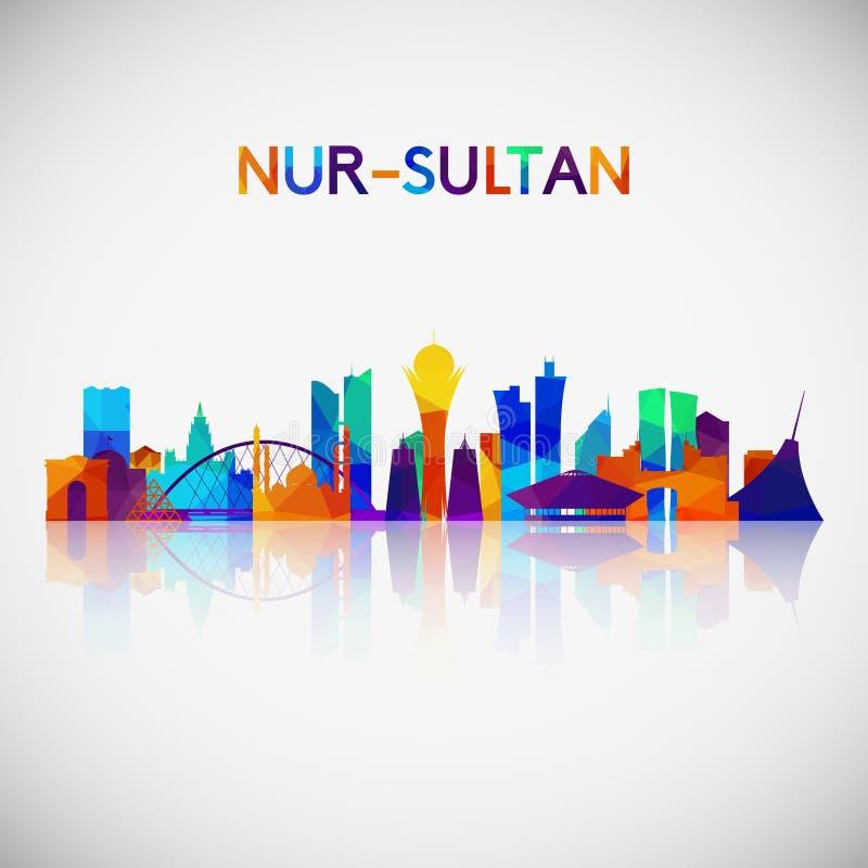 Silueta del horizonte del Nur-sultán en estilo geométrico colorido libre illustration