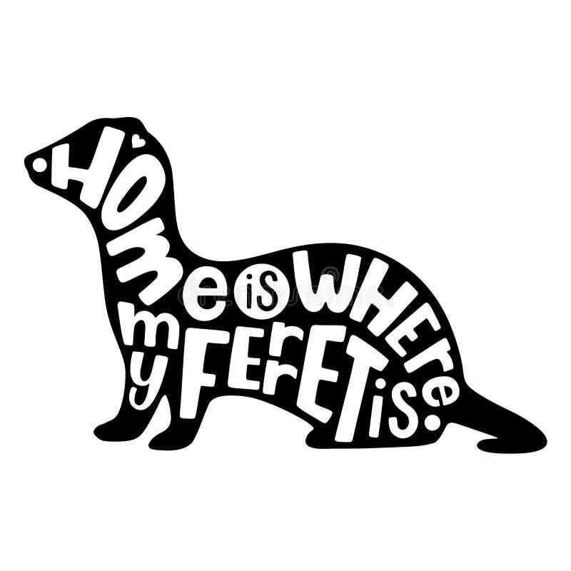 Silueta del hurón con las letras de la mano Ilustración del vector fotografía de archivo libre de regalías