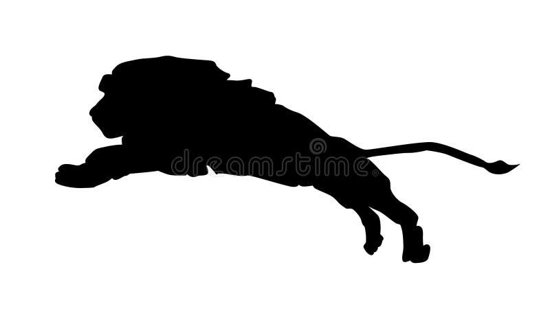 Silueta del icono del león aislada en el fondo blanco stock de ilustración