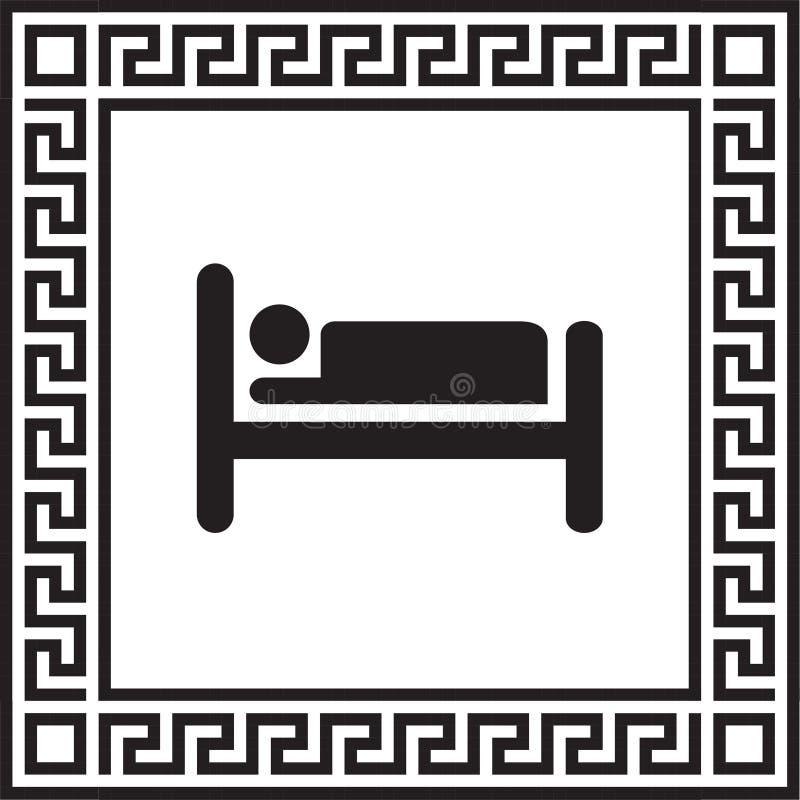 Silueta del icono del vector de la persona en cama en un marco con un ornamento griego ilustración del vector