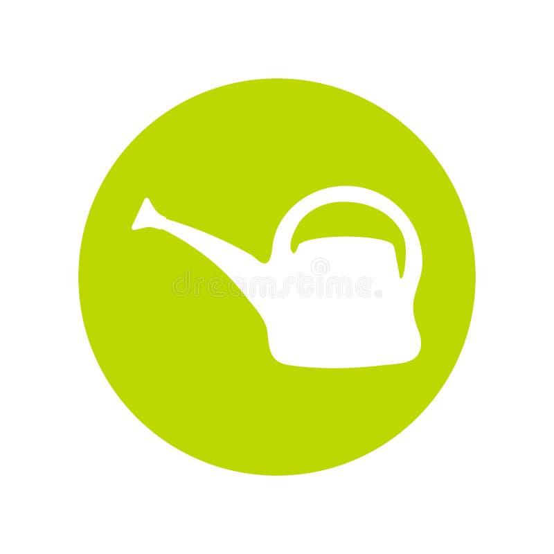 Silueta del icono del vector de la regadera Herramienta de riego del jard?n en estilo plano stock de ilustración