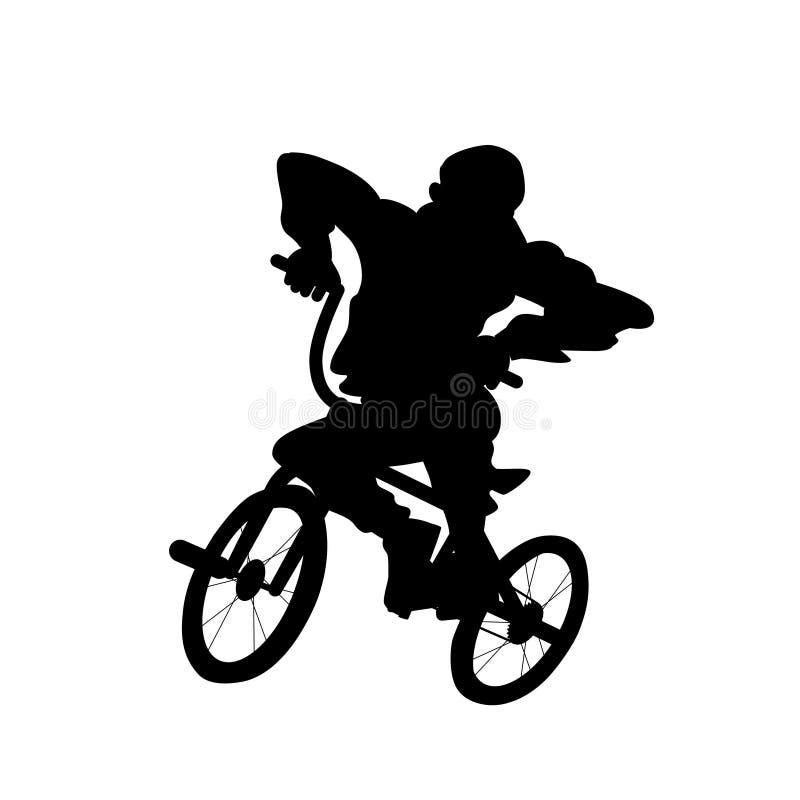Silueta del individuo en la bicicleta del bmx Ejemplo blanco y negro del vector Objeto aislado recorte stock de ilustración
