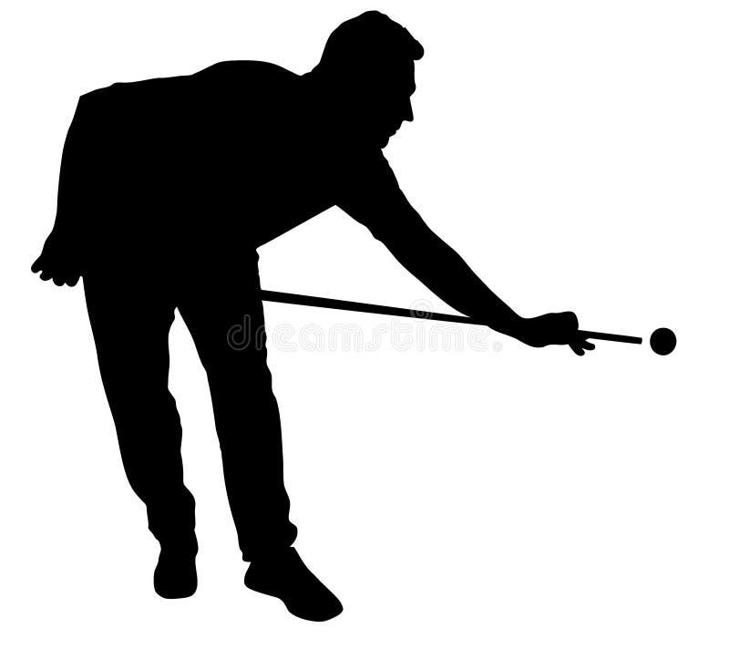Silueta del jugador de billares ilustración del vector