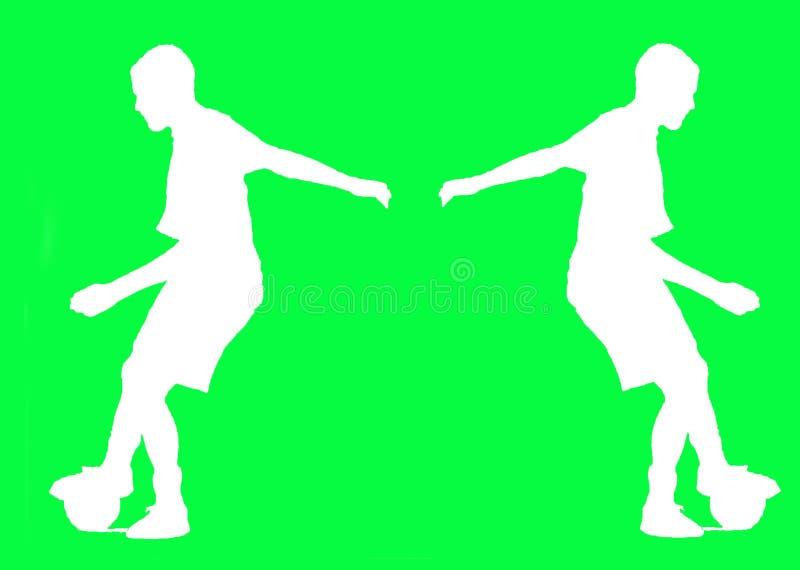 Silueta del jugador de fútbol mientras que juega, en pantalla verde fotografía de archivo libre de regalías