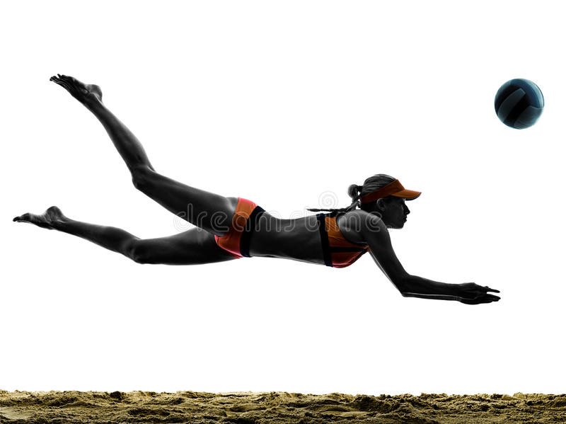 Silueta del jugador de la bola del voleo de la playa de la mujer imagen de archivo