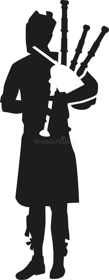 Silueta del jugador de la gaita stock de ilustración