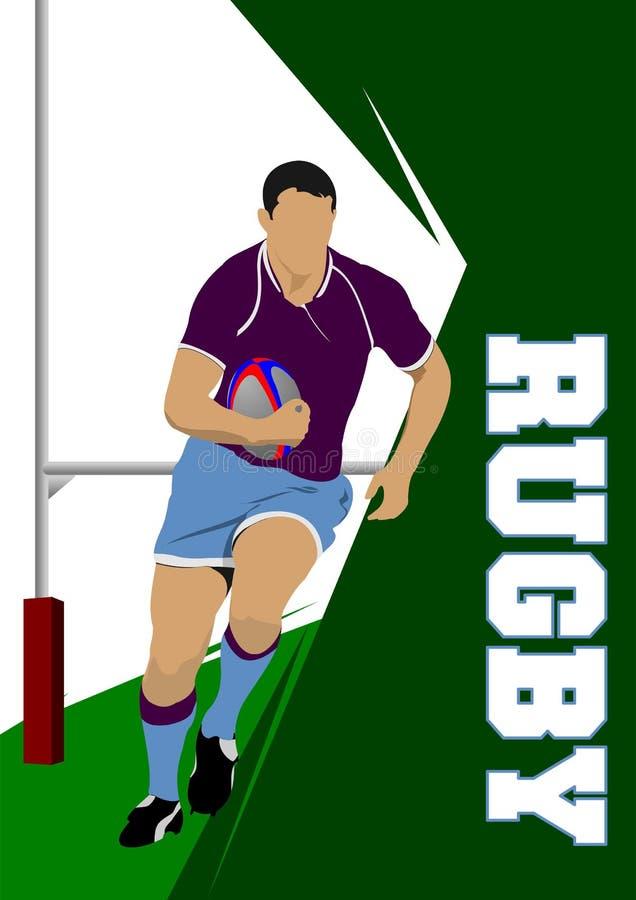 Silueta del jugador del rugbi stock de ilustración