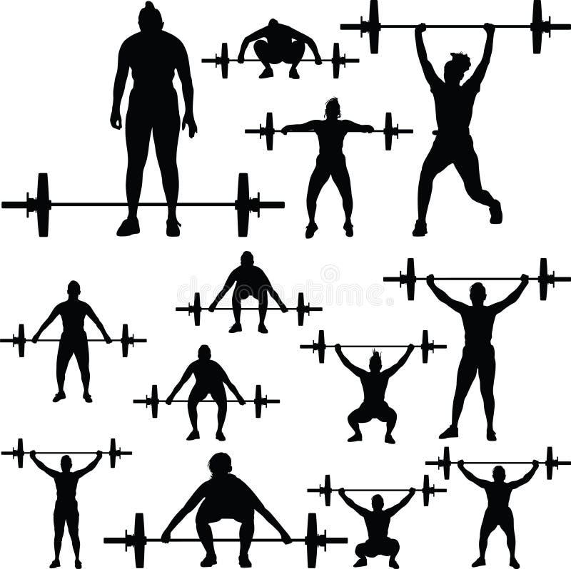 Silueta del levantamiento de pesas ilustración del vector