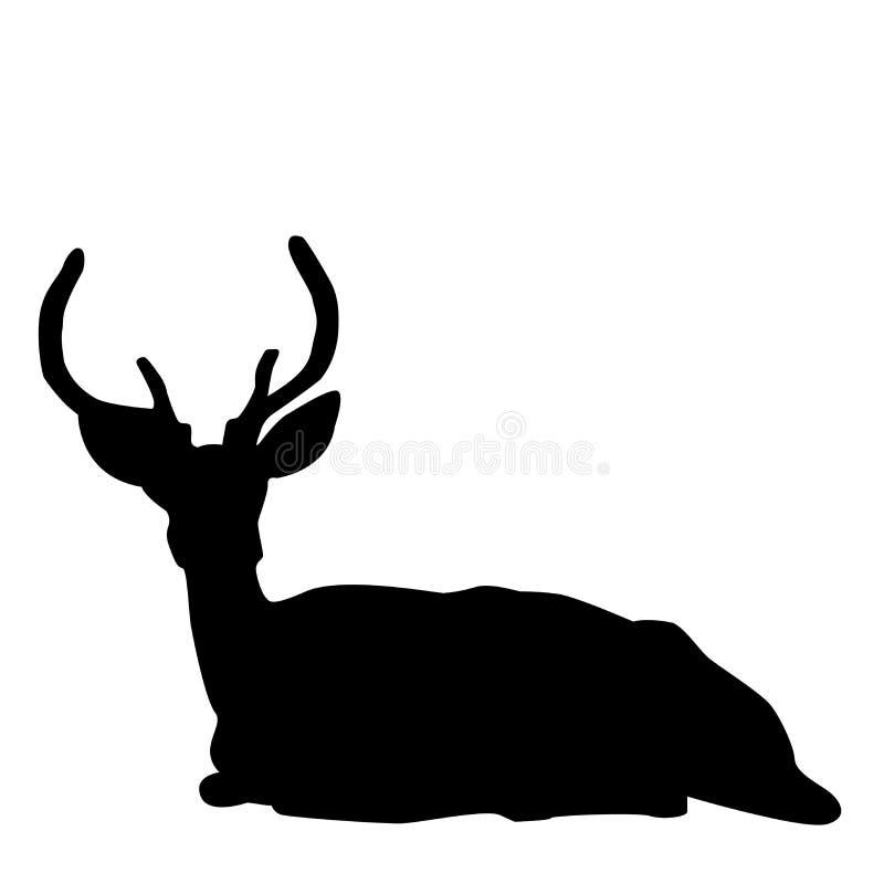 Silueta del macho de los ciervos stock de ilustración