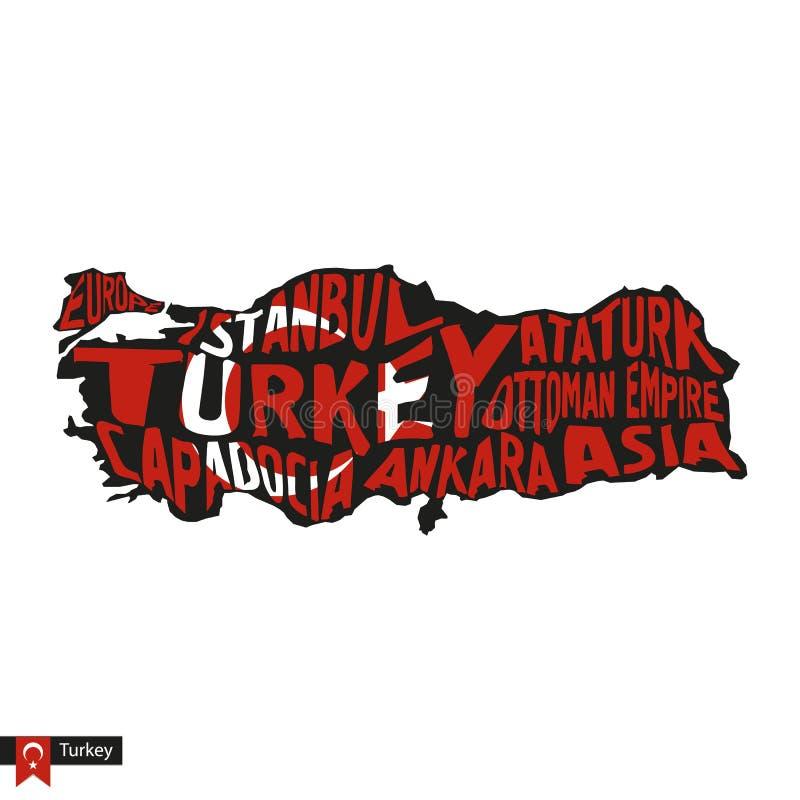 Silueta del mapa de la tipografía de Turquía en colores del negro y de la bandera stock de ilustración