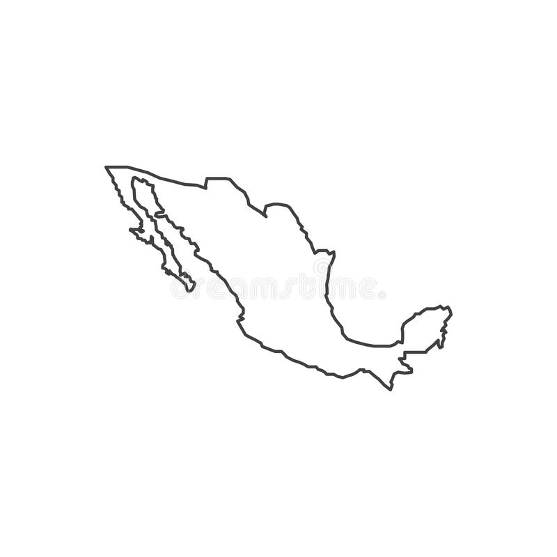 Silueta del mapa de México stock de ilustración