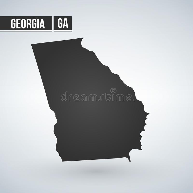 Silueta del mapa del vector de Georgia State aislada en el fondo blanco ilustración del vector