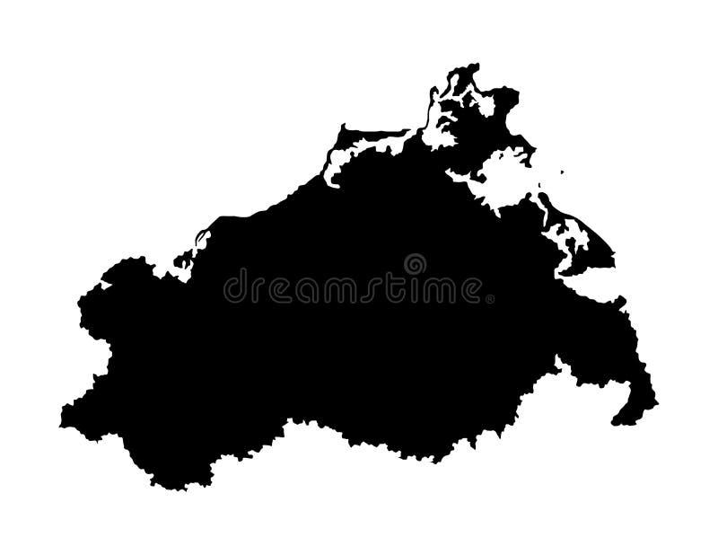 Silueta del mapa del vector de Mecklemburgo-Pomerania Occidental, provincia en Alemania stock de ilustración