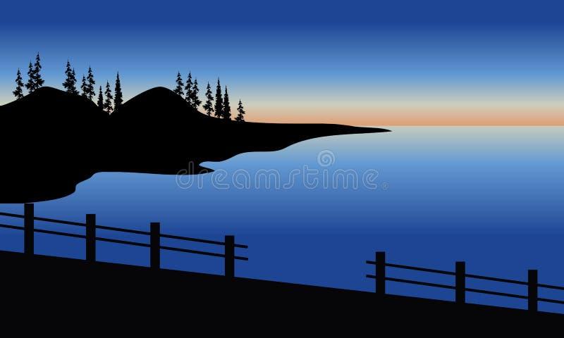 Silueta del mar en el puente ilustración del vector