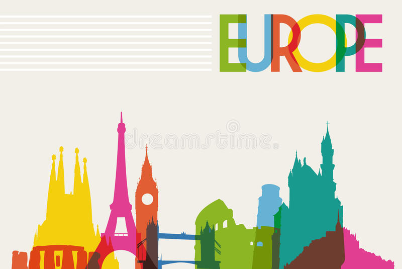 Silueta del monumento del horizonte de Europa libre illustration