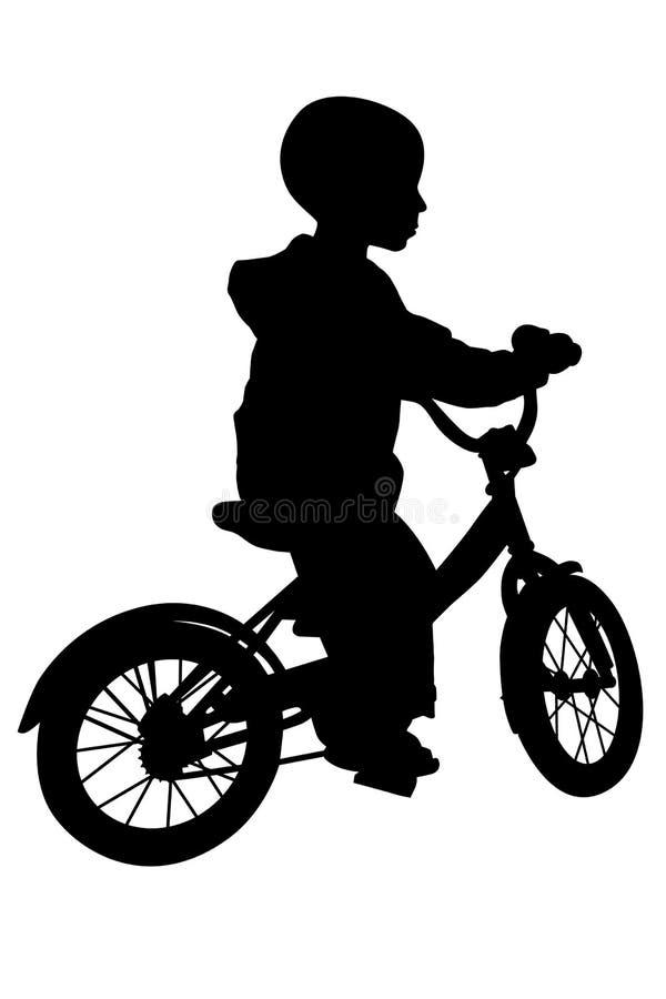 Silueta del muchacho y de la bicicleta stock de ilustración