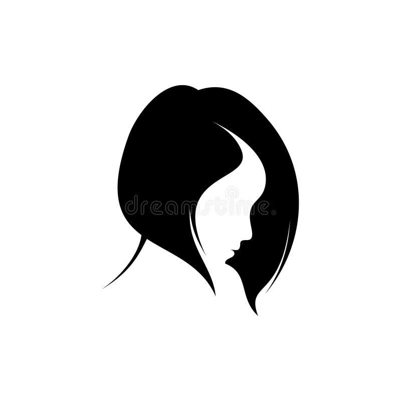 Silueta, del mujeres con diseño de concepto plano Diseño de concepto de las mujeres del estilo de pelo stock de ilustración