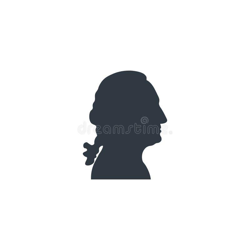 Silueta del negro de George Washington stock de ilustración