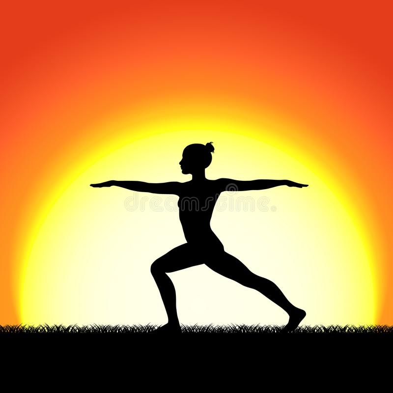 Silueta del negro de la actitud del virabhadraasana de la yoga en fondo de la puesta del sol Carácter de la mujer que medita en n libre illustration
