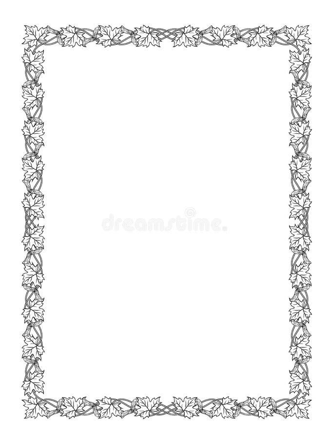 Silueta del negro del marco de la hoja de arce ilustración del vector