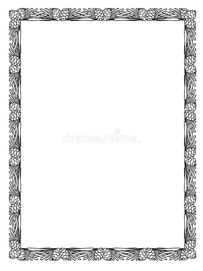 Silueta del negro del marco de la hoja del cono del pino stock de ilustración